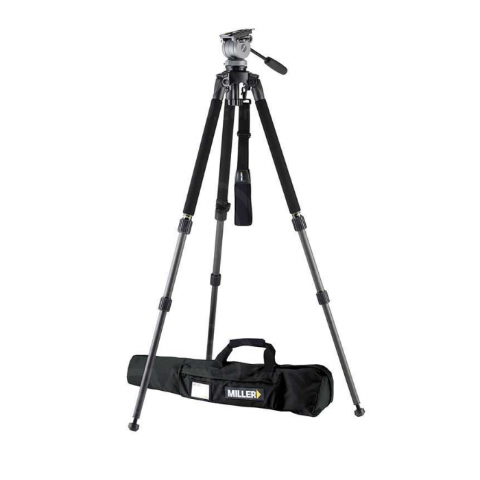 Miller 1514 DS20 Solo DV Ultra-Lightweight Tripod System includes DS20 (184) Solo DV 2-St Carbon Fibre Tripod (1501) Pan Handle (680) Strap (1520) and Solo DV Softcase (1518)